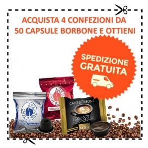 SPEDIZIONE GRATUITA CON CAFFE' BORBONE : ACQUISTA 4 CONFEZIONI DA 50 CAPSULE A SCELTA DI CAFFE' BORBONE CON CONSEGNA GRATIS 0...