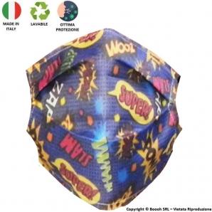 MASCHERINA LAVABILE SUPER HERO POP ART - PRODOTTA IN ITALIA AL 100% E MOLTO COMODA CON LE ALTE TEMPERATURE ESTIVE 5,70€