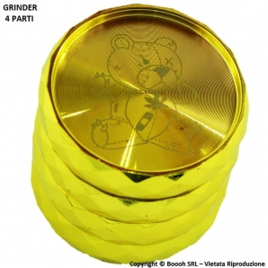 GRINDER GOLD BEAR - TRITATABACCO COLOR ORO E DIVISIBILE IN 4 PARTI CON CHIUSURA MAGNETICA | IDEA REGALO 10,59 €