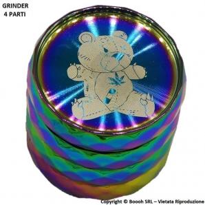 GRINDER RAINBOW BEAR - TRITATABACCO COLOR ORO E DIVISIBILE IN 4 PARTI CON CHIUSURA MAGNETICA | IDEA REGALO 10,59€