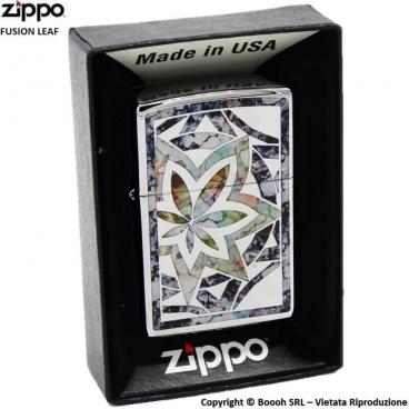 ZIPPO LEAF FUSION COD.29727 FOGLIA DI CANNABIS - ACCENDINO A BENZINA E ANTIVENTO | IDEA REGALO FUMATORE