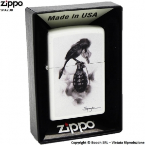 ZIPPO SPAZUK COD.29645 BLACK BIRD GRANATE - ACCENDINO A BENZINA E ANTIVENTO | IDEA REGALO FUMATORE 41,99 €