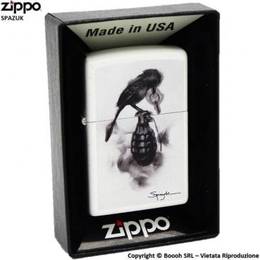 ZIPPO SPAZUK COD.29645 BLACK BIRD GRANATE - ACCENDINO A BENZINA E ANTIVENTO | IDEA REGALO FUMATORE