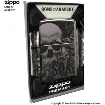 ZIPPO SONS OF ANARCHY SOA COD.49192 - ACCENDINO A BENZINA E ANTIVENTO | IDEA REGALO FUMATORE