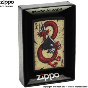 ZIPPO RED DRAGON ACE DESIGN POKER COD.29840 - ACCENDINO A BENZINA E ANTIVENTO | IDEA REGALO FUMATORE 41,99 €