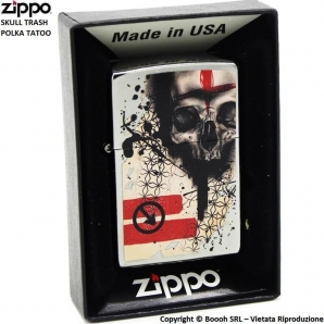 ZIPPO SKULL TRASH POLKA TATOO COD.29856- ACCENDINO A BENZINA E ANTIVENTO | IDEA REGALO FUMATORE 41,99€