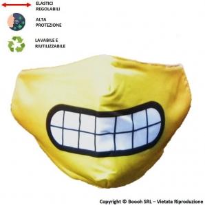 MASCHERINA LAVABILE, REGOLABILE E IGIENIZZABILE FANTASIA SMILE EMOJI - 3 STRATI | ALTAMENTE COMFORTEVOLE 7,13€