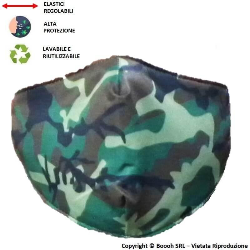 MASCHERINA LAVABILE, REGOLABILE E IGIENIZZABILE FANTASIA MILITARY CAMOUFLAGE - 3 STRATI | ALTAMENTE COMFORTEVOLE 7,13€