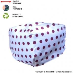 MASCHERINA LAVABILE, REGOLABILE E IGIENIZZABILE FANTASIA POIS VIOLA - 3 STRATI | ALTAMENTE COMFORTEVOLE 7,13€