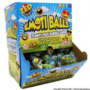 CHEWING GUM EMOTI BALLS AL GUSTO DI LIMONE - BUBBLE GUM A FORMA DI PALLINE CON FACCINE DI EMOTICONS | BOX DA 200 CICLES MONOD...