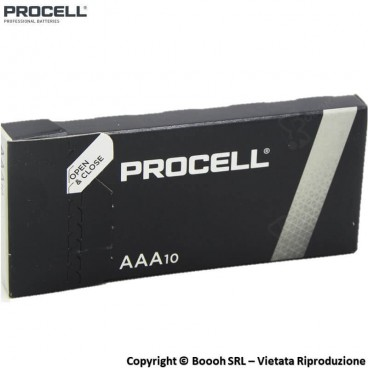 PROCELL DURACELL INDUSTRIAL MINISTILO AAA ALCALINE - SCATOLA DA 10 BATTERIE TRIPLA A