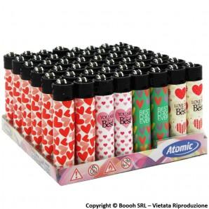 ATOMIC FESTIVAL LOVE HEARTS II ACCENDINI LARGE RICARICABILI - BOX DA 48 ACCENDINI CON FIAMMA REGOLABILE 20,99€
