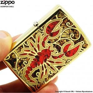 ZIPPO RED SCORPION GOLD SHEEL COD.29096 - ACCENDINO A BENZINA E ANTIVENTO | IDEA REGALO FUMATORE 53,90€