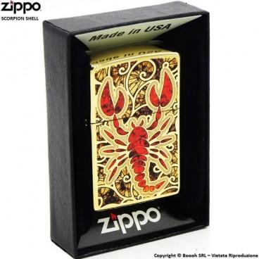 ZIPPO RED SCORPION GOLD SHEEL COD.29096 - ACCENDINO A BENZINA E ANTIVENTO | IDEA REGALO FUMATORE