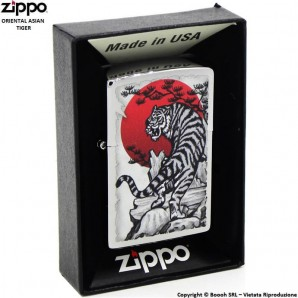 ZIPPO ORIENTAL ASIAN TIGER COD.29889 - ACCENDINO A BENZINA E ANTIVENTO | IDEA REGALO FUMATORE 41,99 €