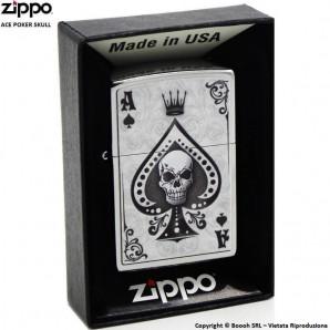 ZIPPO ACE POKER SKULLS COD.13M050 - ACCENDINO A BENZINA E ANTIVENTO | IDEA REGALO FUMATORE 33,99€
