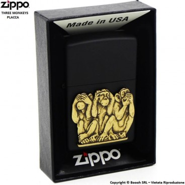 ZIPPO THREE MONKEYS PLACCA COD.29409 - ACCENDINO A BENZINA E ANTIVENTO | IDEA REGALO FUMATORE