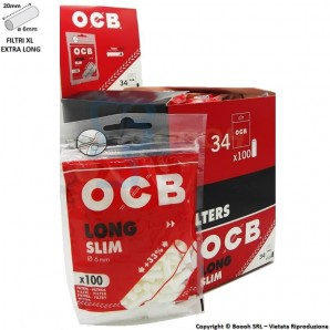 OCB FILTRI SUPER LUNGHI 20mm SLIM 6mm - BOX DA 34 BUSTINE DA 100 FILTRINI XL LONG 49,19 €