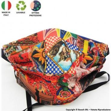 MASCHERINA PER ADULTI FANTASIA FLOREALE UNISEX - PRODOTTO SARTORIALE, LAVABILE, IGIENIZZABILE E MADE IN ITALY | TAGLIA M