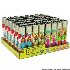 ACCENDINI CLIPPER GIRLY - CONFEZIONE DA 48 ACCENDINI GRANDI RICARICABILI 32,99€