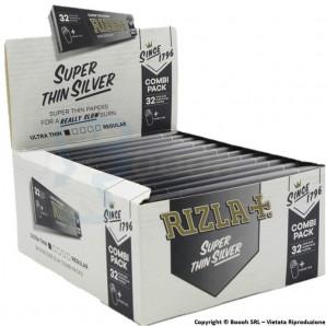 RIZLA CARTINE ARGENTO GRIGIE LUNGHE SILVER KSS + FILTRI IN CARTONCINO | BOX DA 24 LIBRETTI 37,55€