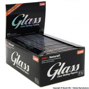 GLASS CARTINE CORTE 1¼ TRASPARENTI IN CELLULOSA VEGETALE - BOX 24 LIBRETTI DA 50 CARTINE 28,39 €