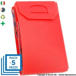 PACK DA 5 PORTA MASCHERINA TASCABILI E IGIENIZZABILI 4MASK by ITALFELTRI - COLORE ROSSO | MADE IN ITALY 14,95€