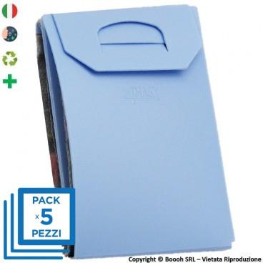 PACK DA 5 PORTA MASCHERINA TASCABILI E IGIENIZZABILI 4MASK by ITALFELTRI - COLORE AZZURRO | MADE IN ITALY