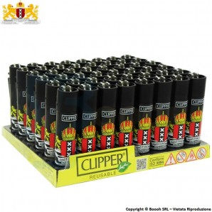 ACCENDINI CLIPPER AMSTERDAM CROWN XXX - BOX DA 48 ACCENDINI LARGE RICARICABILI LIMITED EDITION 49,99 €