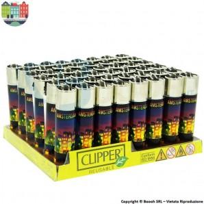 ACCENDINO CLIPPER AMSTERDAM CANAL XXX - BOX DA 48 ACCENDINI LARGE RICARICABILI LIMITED EDITION 49,99€
