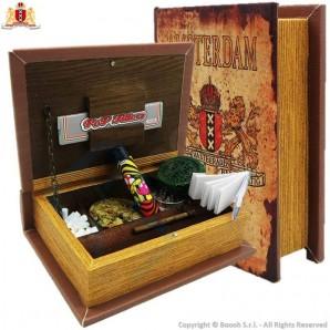 SPLIFF BOX AMSTERDAM XXX - STAZIONE DI ROLLAGGIO FORMA DI PICCOLO LIBRO IN LEGNO CON CHIUSURA MAGNETICA | IDEA REGALO 16,64€