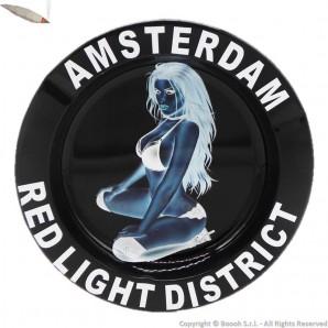 ORIGINAL AMSTERDAM ASHTRAY : POSACENERE ROTONDO IN METALLO DA TAVOLO FANTASIA RED LIGHT GIRL XXX 3,99€