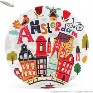 ORIGINAL AMSTERDAM ASHTRAY : POSACENERE ROTONDO IN METALLO DA TAVOLO FANTASIA MULTI COLOUR HOUSES 3,99 €