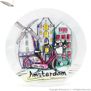 ORIGINAL AMSTERDAM ASHTRAY : POSACENERE ROTONDO IN METALLO DA TAVOLO FANTASIA AMSTERDAM BIKE CITY 3,99 €