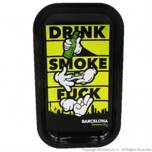 VASSOIO PER ROLLARE '' DRINK SMOKE AND FUCK '' - PROFESSIONAL MEDIUM ROLLING TRAY by V-SYNDICATE | IDEA REGALO FUMATORE 12,81€