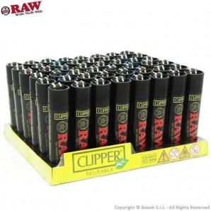 ACCENDINI CLIPPER BLACK RAW ROLLING PAPERS - CONFEZIONE COMPLETA DA 48 ACCENDINI LARGE GRANDI RICARICABILI | SPECIAL EDITION ...
