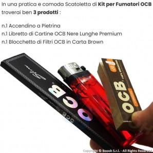 OCB KIT CONFEZIONATO DISTRIBUTORI AUTOMATICI H24 - SCATOLETTA 3PZ : CARTINA LUNGA + ACCENDINO PIETRINA + FILTRO CARTA VIRGIN ...