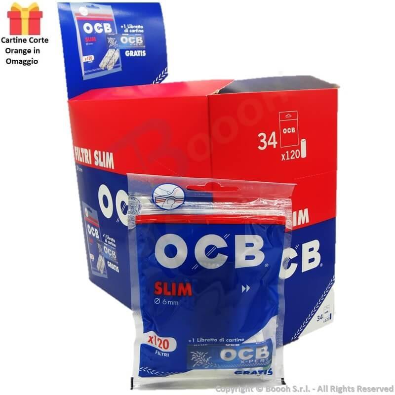 OCB BAG FILTRI SLIM 6MM LISCI + CARTINA CORTA X-PERT IN OMAGGIO - BOX DA 34 BUSTINE DA 120 FILTRI + 50 CARTINE 65,73€