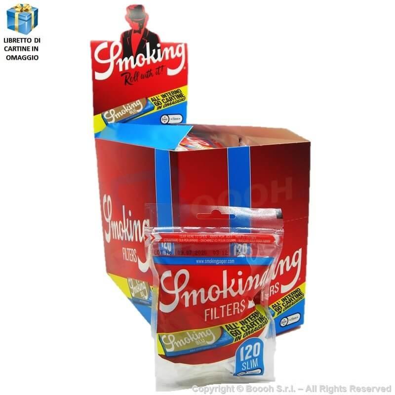 SMOKING FILTRI SLIM 6MM LISCI + LIBRETTO DI CARTINE SMOKING CORTE BLU IN OMAGGIO - BOX DA 30 BUSTINE DA 120 FILTRI + 60 CARTI...