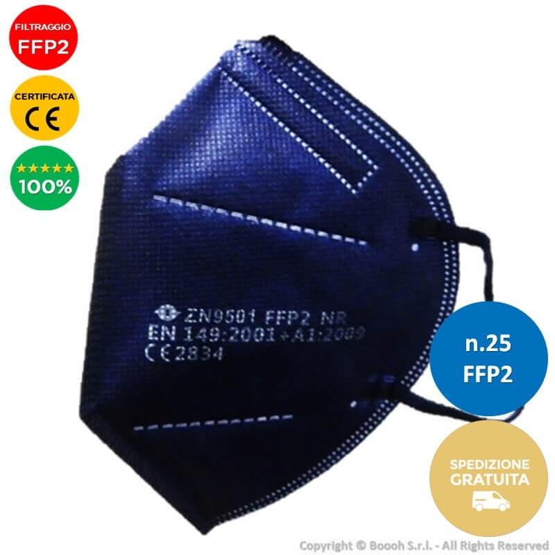 25 MASCHERINE FFP2 CERTIFICATE CE 2834 - COLORE BLU - 5 STRATI DI PROTEZIONE   MORBIDI ELASTICI LATERALI COMFORT ESTREMO 59,98€