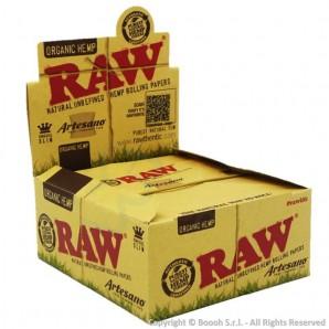 RAW ARTESANO ORGANIC CARTINE LUNGHE KSS + FILTRI CARTA | BOX 15 LIBRETTI DA 32 CARTINE + 32 FILTRI DI CARTA 36,99€