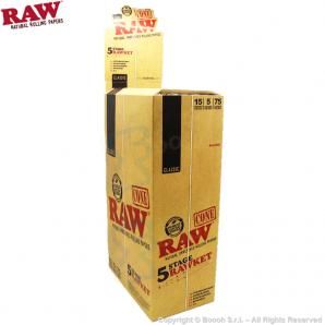 RAW CONE 5 STAGE RAWKET | BOX DA 15 PACCHETTI DA 5 CONI PREROLLATI DI VARIE MISURE 41,99€