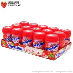 MENTOS PURE FRESH STRAWBERRY NANO BOTTLE CHEWING GUM GUSTO FRAGOLA - BOX DA 15 BARATTOLINI 17,77€