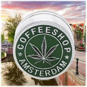 GRINDER AMSTERDAM COFFEE SHOP - TRITATABACCO METALLICO DIVISIBILE IN 3 PARTI | IDEA REGALO FUMATORE 8,56€