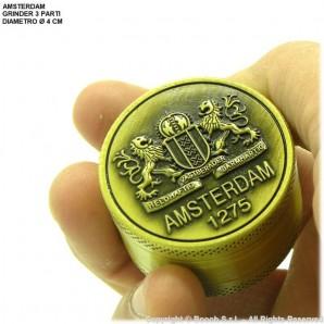GRINDER AMSTERDAM 1275 ORIGINAL XXX - TRITATABACCO METALLICO COLOR ORO E DIVISIBILE IN 3 PARTI | IDEA REGALO FUMATORE 8,56€