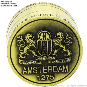 GRINDER AMSTERDAM 1275 ORIGINAL XXX - TRITATABACCO METALLICO COLOR ORO E DIVISIBILE IN 3 PARTI | IDEA REGALO FUMATORE