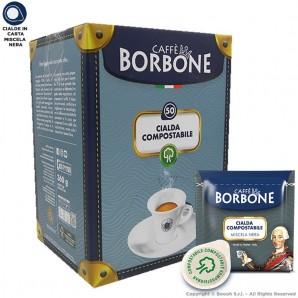 CAFFE' BORBONE QUALITA' NERA CIALDE IN CARTA BLACK - CONFEZIONE DA 50 CIALDE COMPOSTABILI ECOSOSTENIBILI ESE 44MM 6,99€