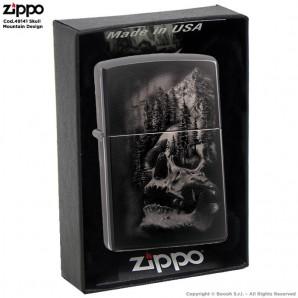 ZIPPO SKULL MOUNTAIN DESIGN COD.49141 - ACCENDINO A BENZINA E ANTIVENTO | IDEA REGALO FUMATORE 57,13€