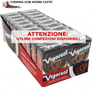 VIGORSOL COFFEE CUP CHEWING GUM - GOMME DA MASTICARE AL GUSTO DI CAFFE'   CONFEZIONE DA 20 ASTUCCI 33,79€