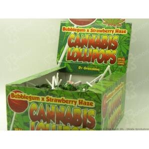 LOLLIPOPS GUSTO FRAGOLA CON AROMA CANNABIS (NO THC) - 5 LOLLIPOPS 3,25€